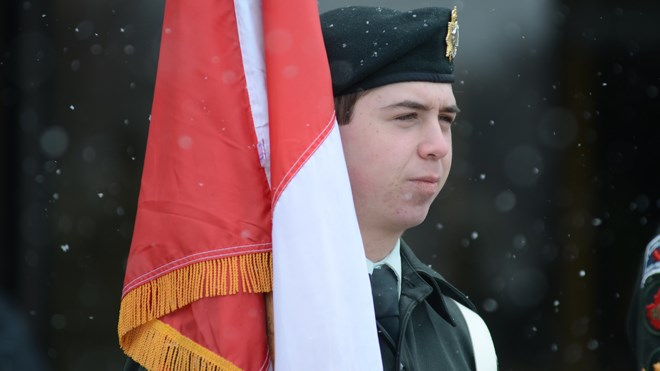 The sacrifice of Canadian soldiers at the Battle of Vimy Ridge was at the forefront when Legion members, as well as the Irish Regiment, Greater Sudbury Police Service, Polish Combatants Association, and the Navy, Sea and Army Cadets marched from Tom Davies Square to the Church of the Epiphany for a memorial service. Photo by Arron Pickard.