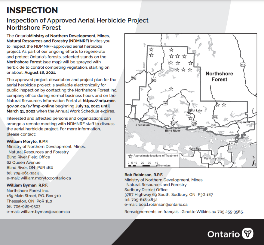 AERIAL HERBICIDE PROJECT NORTHSHORE FOREST