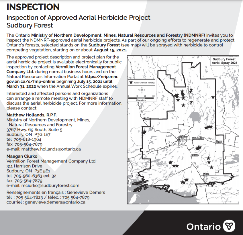 AERIAL HERBICIDE PROJECT SUDBURY FOREST