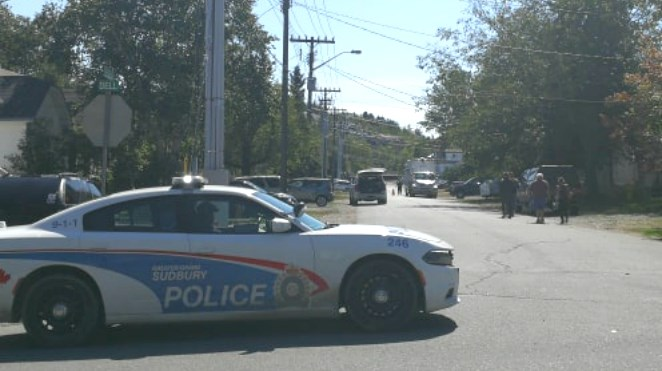 """Greater Sudbury Police responded to a scene at a Flour Mill address after receiving reports """"of possible explosive devices"""" located on the property. (Arron Pickard)"""