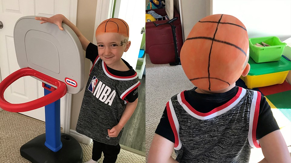 """It's Spirit Week at Valley View Public School in Val Caron and Amanda Malvaso sent in photos of her four-year-old son Lucas parttaking in """"Wacky Hair Workout Day!"""". She wrote, """"My son doesn't let his Alopecia Universals own him, he OWNS it! He may not have hair but that never stopped him."""""""