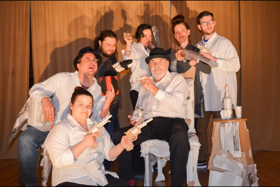 Cast members with Lara Bradley's Blind Nickel Pig gather for a photo at a recent rehearsal. Back row, from left, are Daniel Aubin (Piano Man), France Huot (Annie Flyberry), Miriam Cusson (Mabel-Lynn) and Alec Peroff (Constable Alex Mackracken). In the front row, from left, are Greg Tremblay (Fast Willy Dorland/Jib Johnston), Cassandra Rene ( Frannie Flyberry/Mrs. Doris Dorland) and Ron Tough (William Edge Mason/Pikey Fishcheeks Mckray). (Supplied)