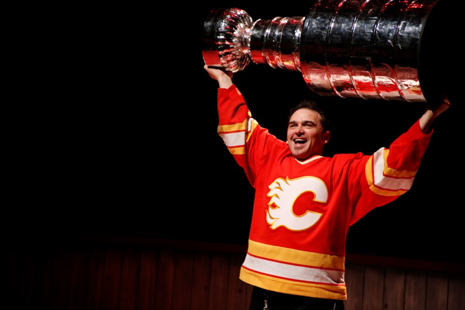 Shaun Smyth plays Theo Fleury in Persephone Theatre's production of Playing With Fire: The Theo Fleury Story by Kirstie McLellan Day. (Supplied)