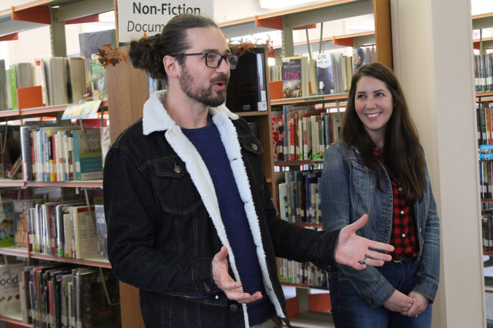 Wallace R. (left) and Laura-Leigh Gillard (right) at the Copper Cliff Public Library. (Keira Ferguson/ Sudbury.com)