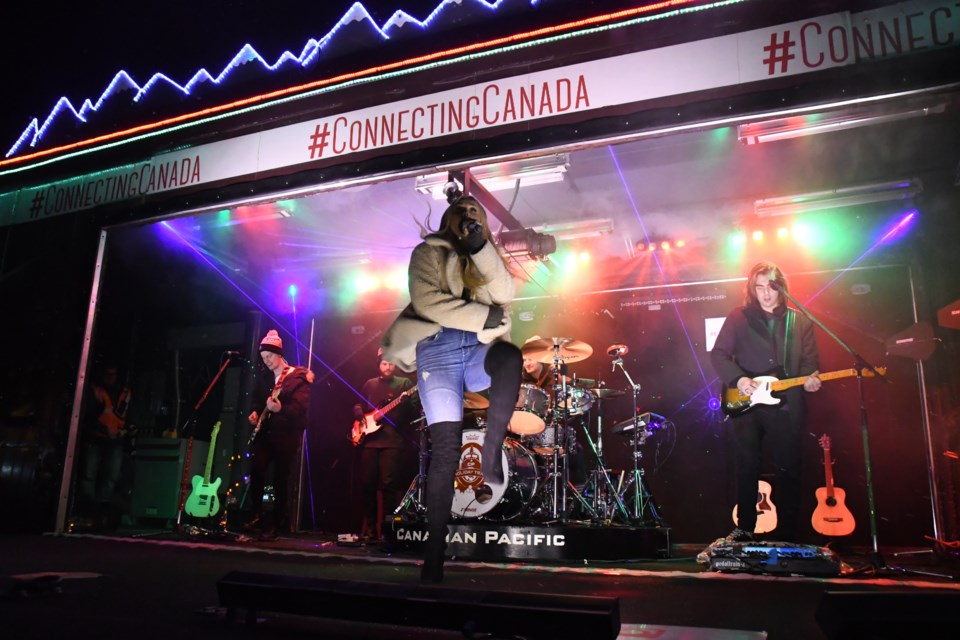 CP Holiday Train stops in Downtown Sudbury with special guest Madeline Merlo. (Marg Seregelyi/ Sudbury.com)