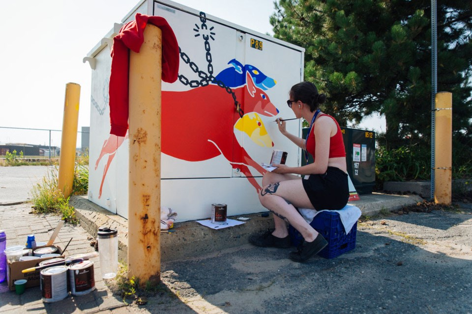 Artist Sarah Dempsey during the Power Up Project in 2018. (Photo: Vanessa Tignanelli)