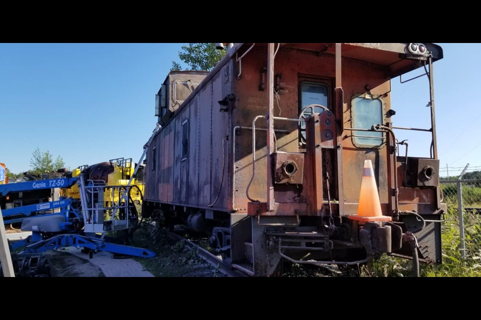 The caboose as it looked before restoration. (Supplied)