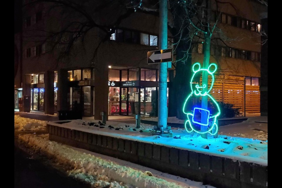 Some of the lit-up decorations around downtown Sudbury. (Supplied/Monique Legault)