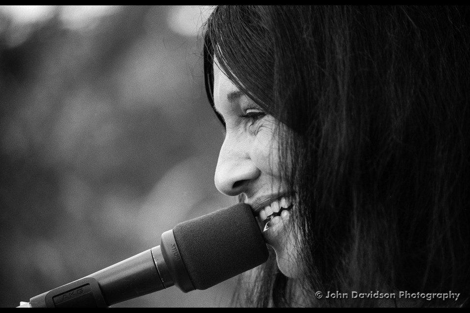 Buffy Sainte-Marie performs at Northern Lights Festival Boréal in 1986.