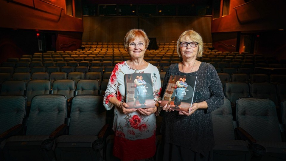 Authors Judi Straughan and Vicki Gilhula with their book A Theatre in Five Acts: Fifty Years of Sudbury Theatre Centre.