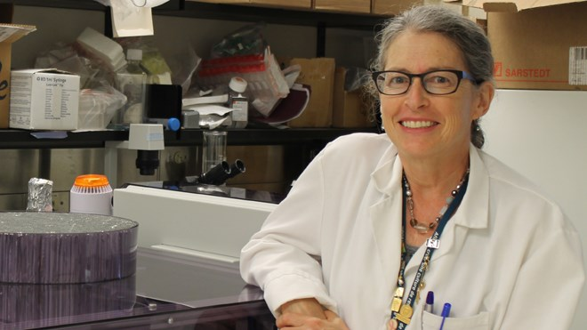 Dr. Leslie Sutherland will lead research from the Health Sciences North Research Institute to measure the potential cancer-causing effect of radon gas on different cells. Supplied photo.