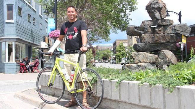 Cyclist and activist Chris Cull made his way through Sudbury this weekend during his second cross-Canada ride. Photo: Matt Durnan