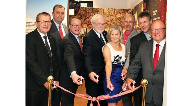 (L to R) Mike Cox (Vice President of Vale UK Operations), Guy Labine (CEO of Science North), Alan Kessel (Deputy High Commissioner), Dr. Art McDonald (Nobel Laureate and Emeritus Professor at Queen's University), Jennifer Pink (Science Director at Science North), Dr. Doug Hallman (Emeritus Professor at Laurentian University), Dr. Nigel Smith (Director of SNOLAB), Mayor Brian Bigger (Mayor of the City of Greater Sudbury). Supplied photo.