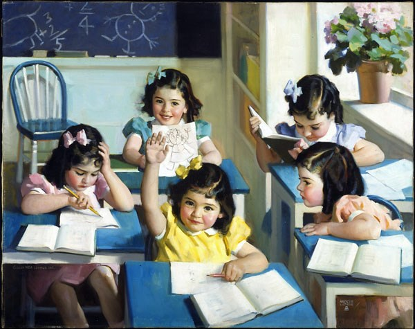 "In 1938, one of the 20th century's most influential illustrators, Andrew Loomis, unveiled this painting, entitled ""Dionne Quintuplets – School Days."""