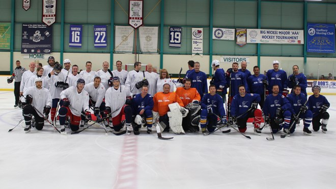 NHL stars and Sudbury doctors squared off at Countryside Arena on Thursday night for the second annual NHL vs Docs hockey game. (Photo: Matt Durnan)