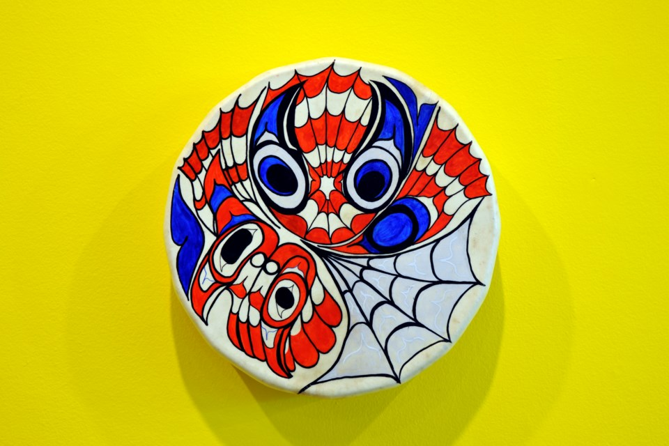 """When Raven Became Spider, Issue 1, Vol. 1"" (2003) by artist Sonny Assu lends its name to the entire travelling exhibit currently hanging at the Art Gallery of Sudbury. The piece is acrylic on deer-hide drum. (Ella Myers)"