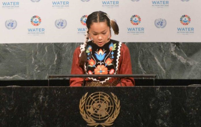 Autumn Peltier of Wiikwemkoong addressed the United Nations General Assembly last Thursday, calling on the world's leaders to 'warrior up' and start protecting Mother Earth and her water. Autumn helped to kick off the United Nations' Water Action Decade and was the youngest to speak at the event. (Photo by Linda Roy, Ireva Photography)