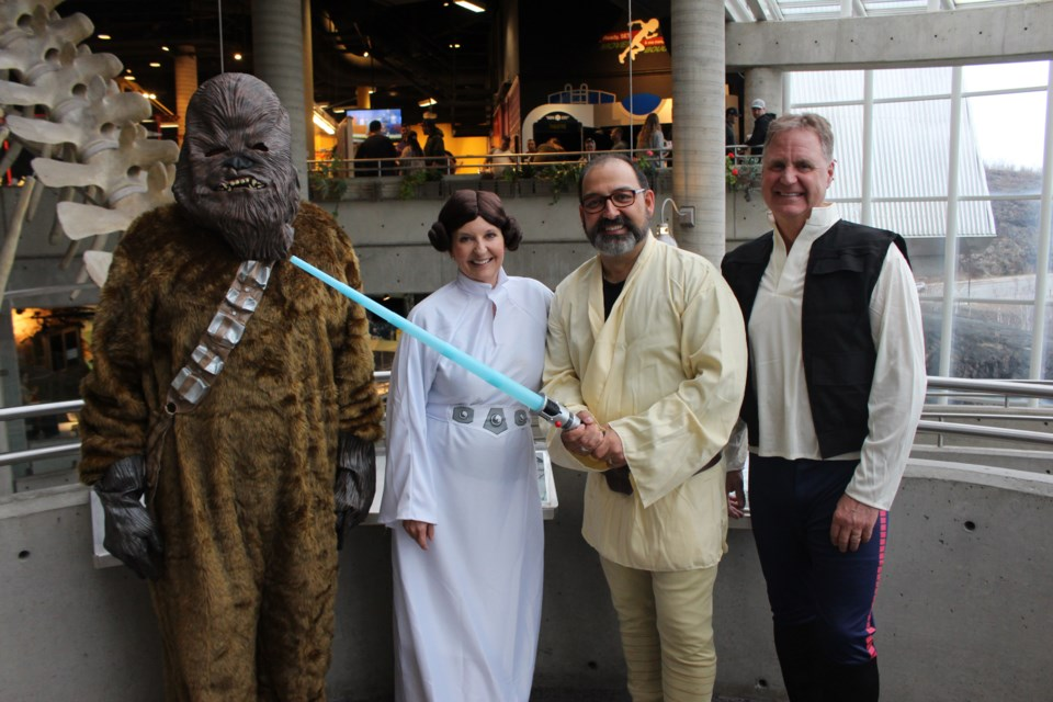 Chewbacca (Science North CEO Guy Labine), Princess Leia (Science North science directorJulie Moskalyk), Luke Skywalker (Sudbury MPP Glenn Thibeault), and Han Solo (Science North board chair Scott Lund) following an announcement from Thibeault of $1 million in funding support for the THINK project. (Matt Durnan/Sudbury.com)