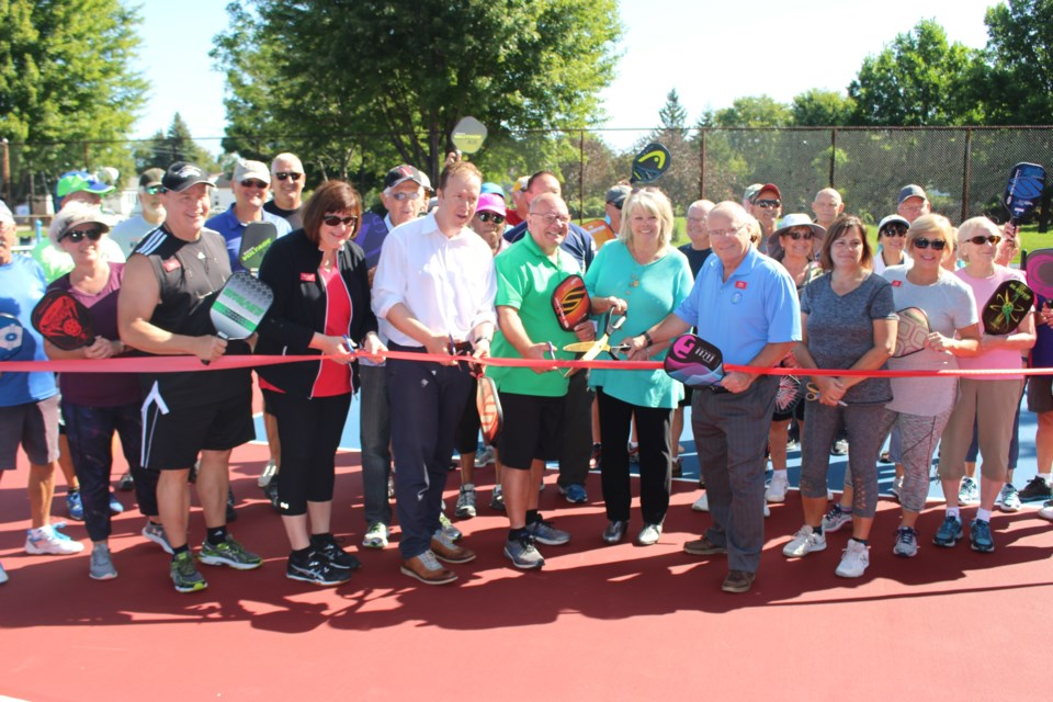 The sun was shining and the mood was celebratory as the city of Greater Sudbury officially opened its first outdoor courts dedicated exclusively to pickleball on Sept. 6. (Matt Durnan/Sudbury.com)