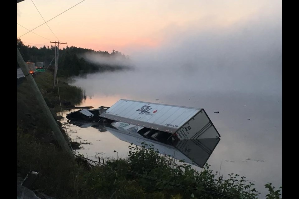 Photo of the collision on Highway 11 near Rabbit Lake Road, south of Temagami, Ontario on the morning of Sept. 9, 2018. (Photo: Randy J. Kirkwood/Facebook)