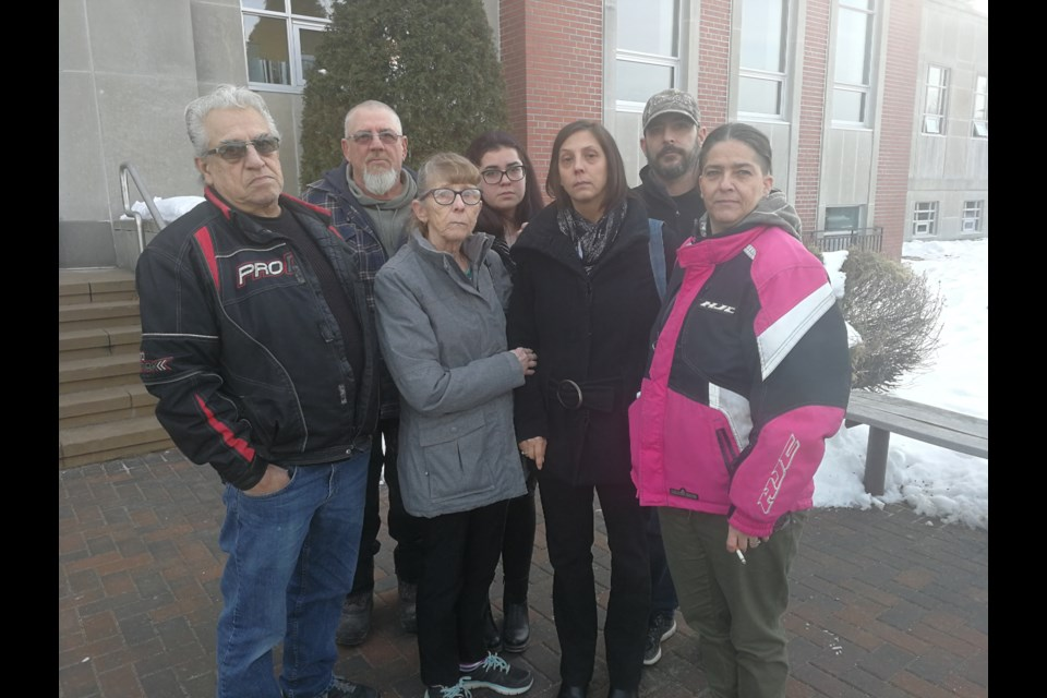 Lynn Gauthier is joined by her family outside the Sudbury courthouse on Wednesday after the man who killed her son in a drunk driving crash was sentenced to five years in prison. In, front, from left, Willy Sivret, Lorraine Sivret, Lynn Gauthier and Carmen Sivret. In back, from left, is Rejean Gauthier, Kelsey McLeod and Marcel Gauthier. (Arron Pickard)
