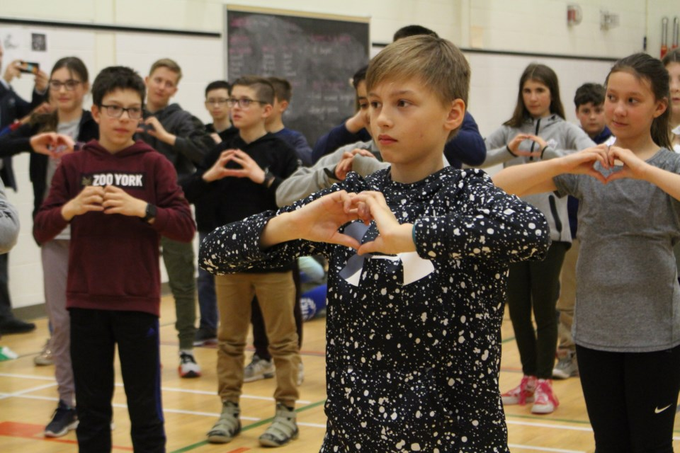 R.L. Beattie Public School performs the 'Fractal Dance' with the help of 250 students, as part of Natural Sciences and Engineering Research Council's Science Odyssey Week (Keira Ferguson/ Sudbury.com)