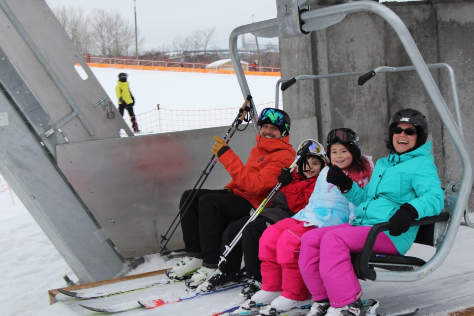 From left to right, Steve Brujic with his son Savka Borota and Sovia Borota Thompson with her mother Neven Brujic, at the Adanac Ski Hill (Keira Ferguson/ Sudbury.com)