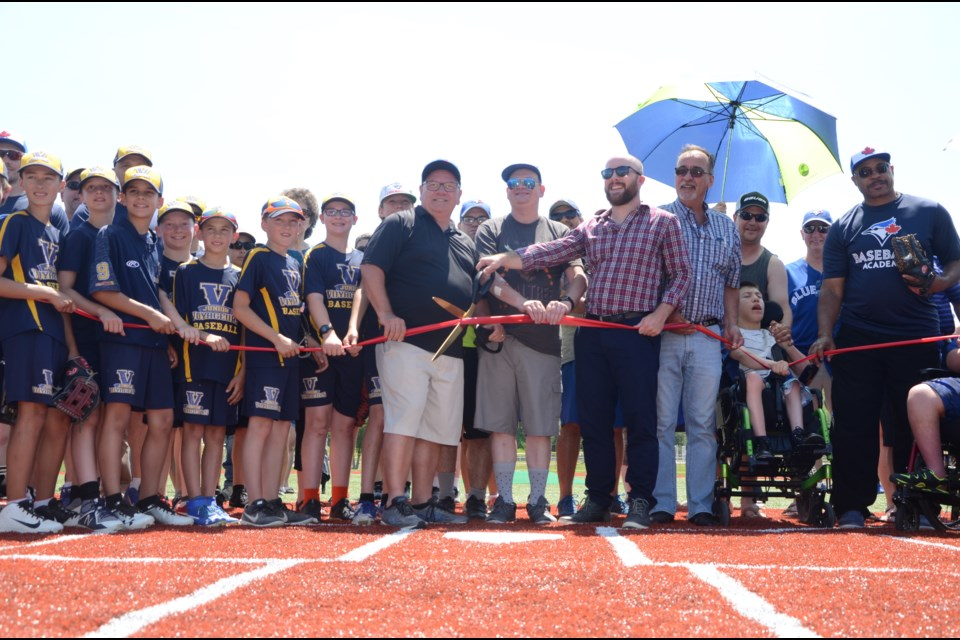 A ribbon-cutting ceremony was held July 4 to unveil the city's first turfed field, made possible through a grant from the Jays Care's Field of Dream program. (Arron Pickard/Sudbury.com)