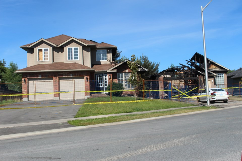 A structure fire occurred on Chinaberry Drive in Lively July 7, displacing two families and causing more than $770,000 worth of damage. (Keira Ferguson/ Sudbury.com)