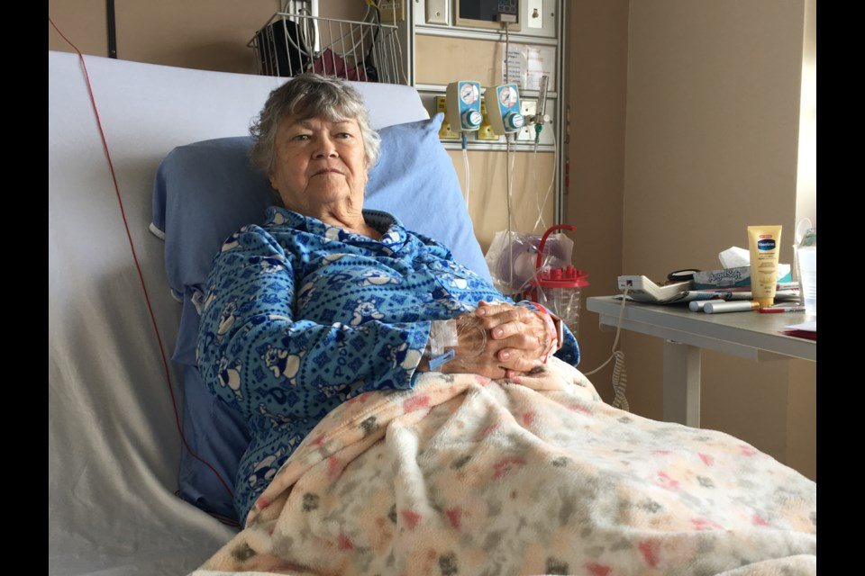 Pansy Halls is recovering at HSN from having her gallbladder removed. The 79-year-old can't be discharged from the hospital as she has nowhere to go since her Capreol seniors apartment has been in repair for nearly four months with no end in sight. (Matt Durnan / Sudbury.com)
