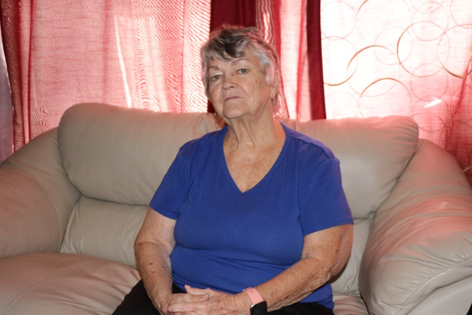 Pansy Halls has been sleeping on this couch at her daughter's house in Capreol for nearly four months. (Matt Durnan/Sudbury.com)