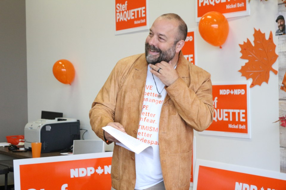 Stef Paquette, Nickel Belt NDP candidate in the 2019 federal election, celebrates the opening of his campaign office in Val Caron. (Keira Ferguson/ Sudbury.com)
