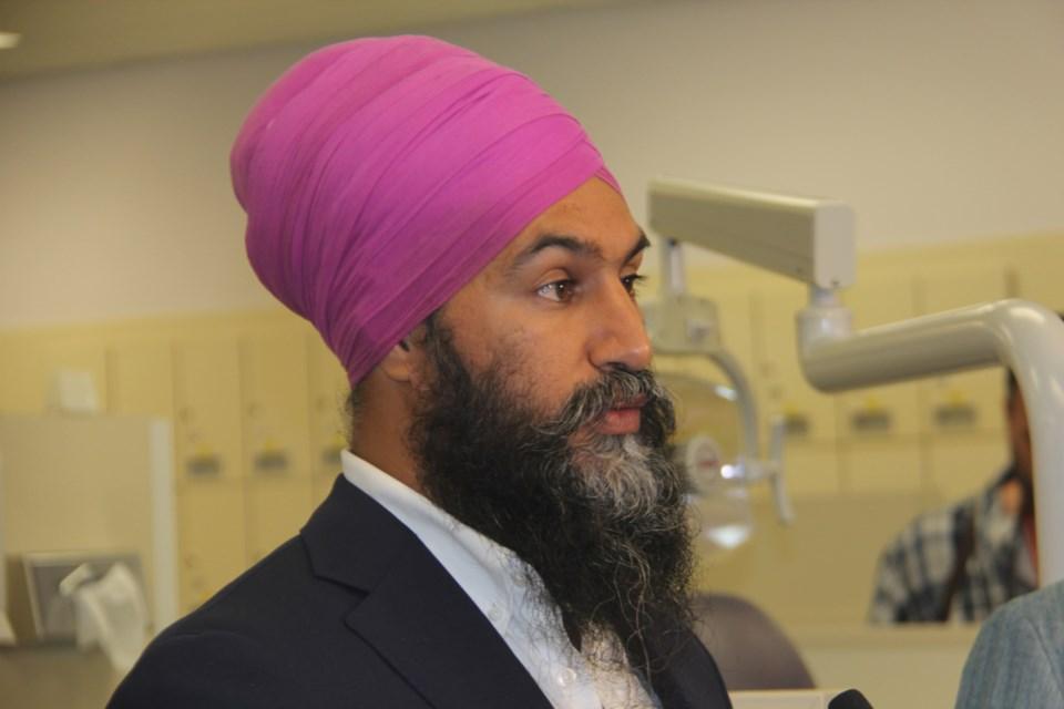 Federal NDP leader Jagmeet Singh speaks at an event in Sudbury Sept. 18. (Heidi Ulrichsen/Sudbury.com)