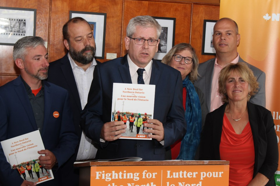 "Timmins-James Bay MP Charlie Angus shows off the NDP's ""New Deal for Northern Ontario"". (Matt Durnan/Sudbury.com)"