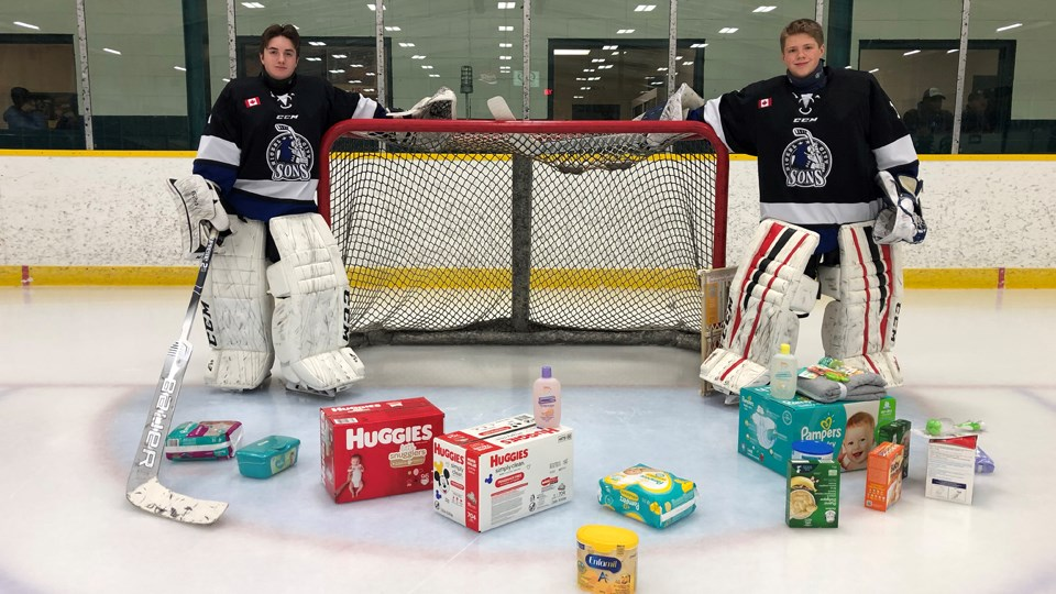 Little Guys' Pizza has teamed up with the Nickel City AAA Minor Bantam Sons to raise awareness and donated items for the Infant Food Bank and Local Food Bank in November. (Supplied)