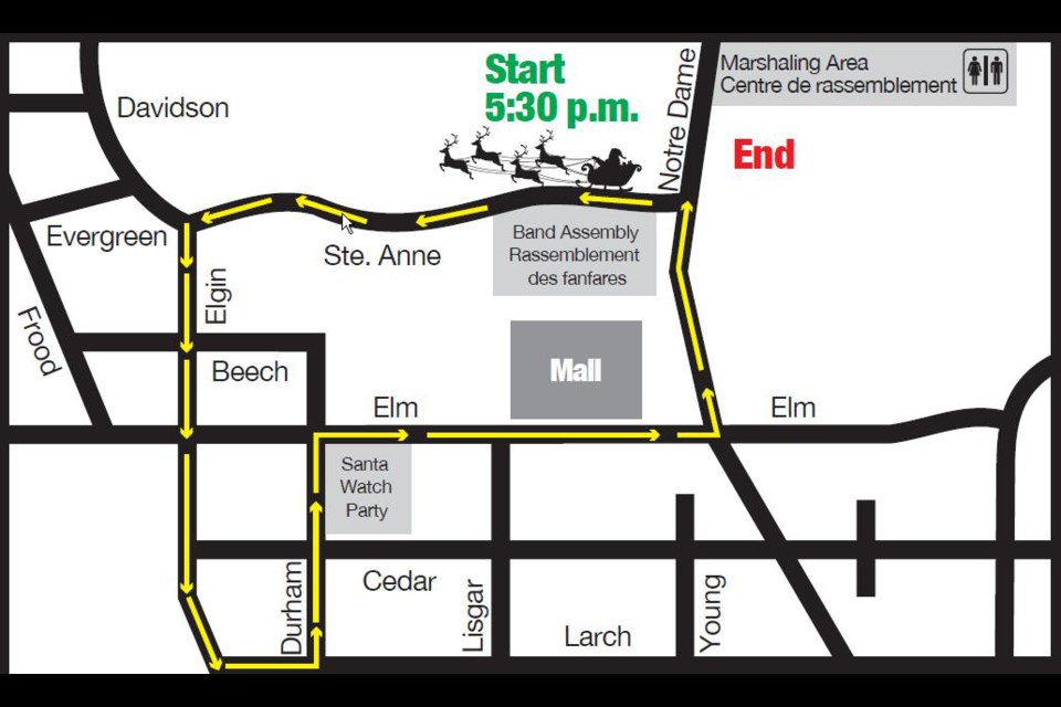 This year's Santa Claus Parade will follow the same route as last year with the exception of one added block on Larch Street between Elgin Street and Durham Street.