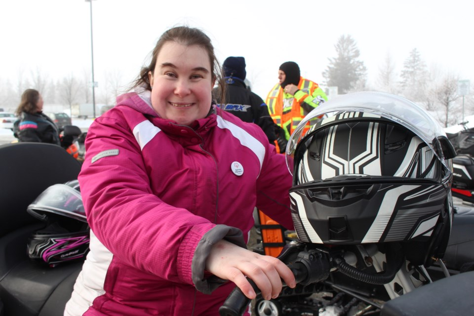 Danie Houle, Special Olympic bowling and powerlifter, at the inaugural GSPS Law Enforcement Snowmobile Torch Run in support of Special Olympics Ontario. (Keira Ferguson/ Sudbury.com)