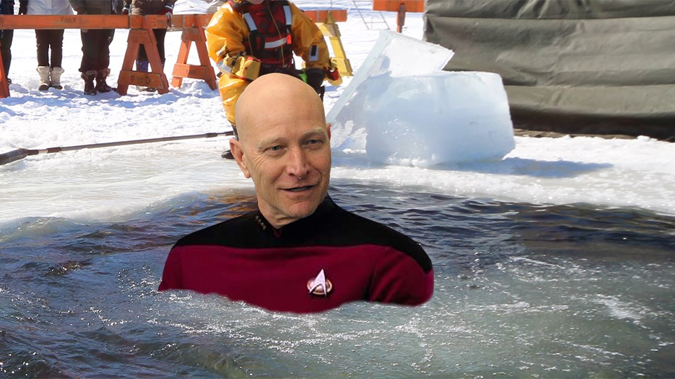 A (poorly!) photoshopped image of what we expect Greater Sudbury Police chief Paul Pedersen will look like as he takes the plunge as Star Trek's Captain Jean-Luc Picard at the upcoming Polar Plunge in support of Special Olympics Ontario. (Image: Sudbury.com)