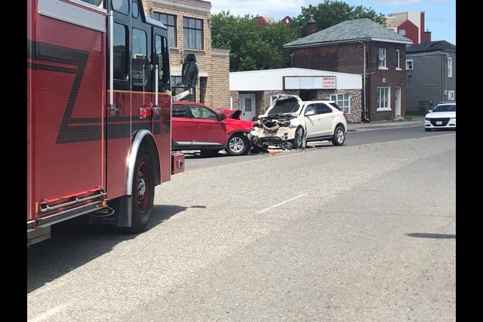 Lorne Street temporarily closed following a two-vehicle collision. (Keira Ferguson/Sudbury.com)