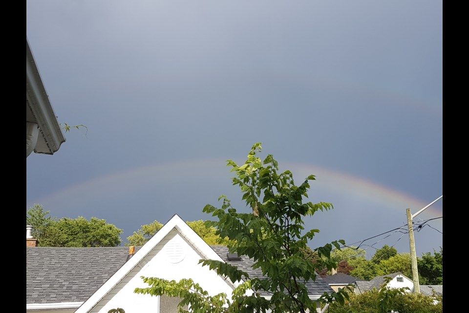 Sandra Allan took a photo of a double rainbow during the July 4 thunderstorm in Sudbury. (Supplied)