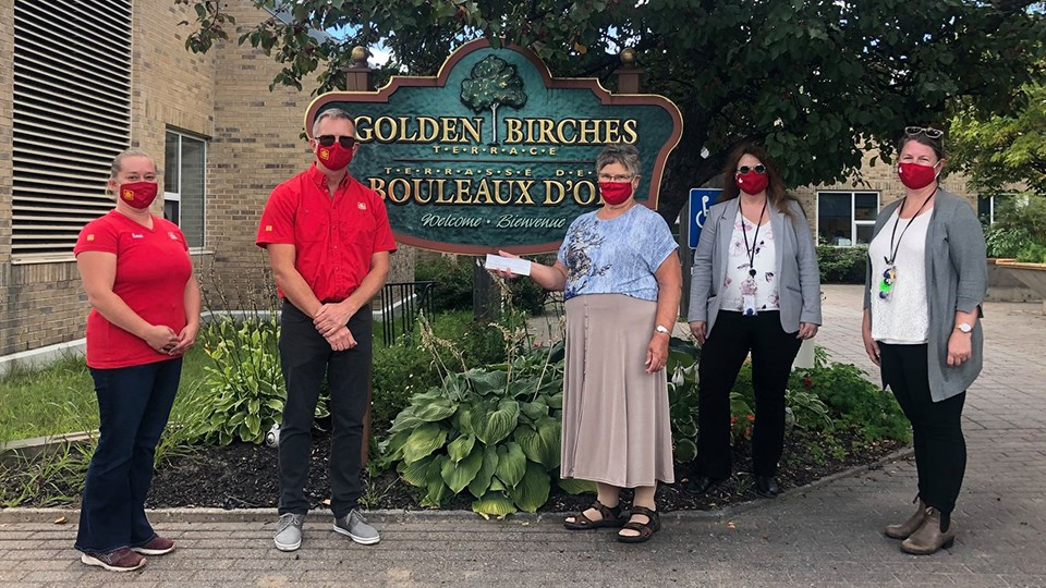 Blind River Home Hardware sold 400 of Covergalls' 'Canada Strong' masks, which led to a $2,000 donation to the city's Golden Birches Terrace long-term care facility. (Supplied)