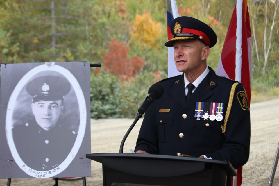 Greater Sudbury Police Services chief Paul Pedersen at Thursday's bridge dedication to Sgt. Frederick Davidson. (Matt Durnan/Sudbury.com)