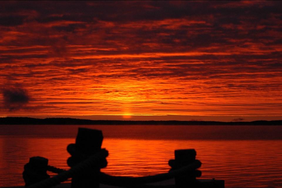 Debbie Plain-McGregor shared a number of gorgeous shots of the sunrise over Lake Wahnapitae. (Supplied/Debbie Plain-McGregor)