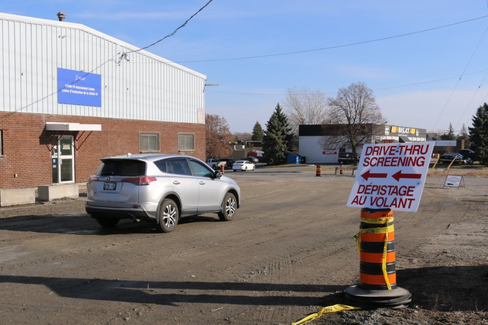 The new COVID-19 drive through testing site in Sudbury is at 2050 Regent Street, close to the Buzzy Brown's Brasserie.  The building is a former freight warehouse and it will allow for drive-through COVID-19 testing.  (Len Gillis / Sudbury.com)