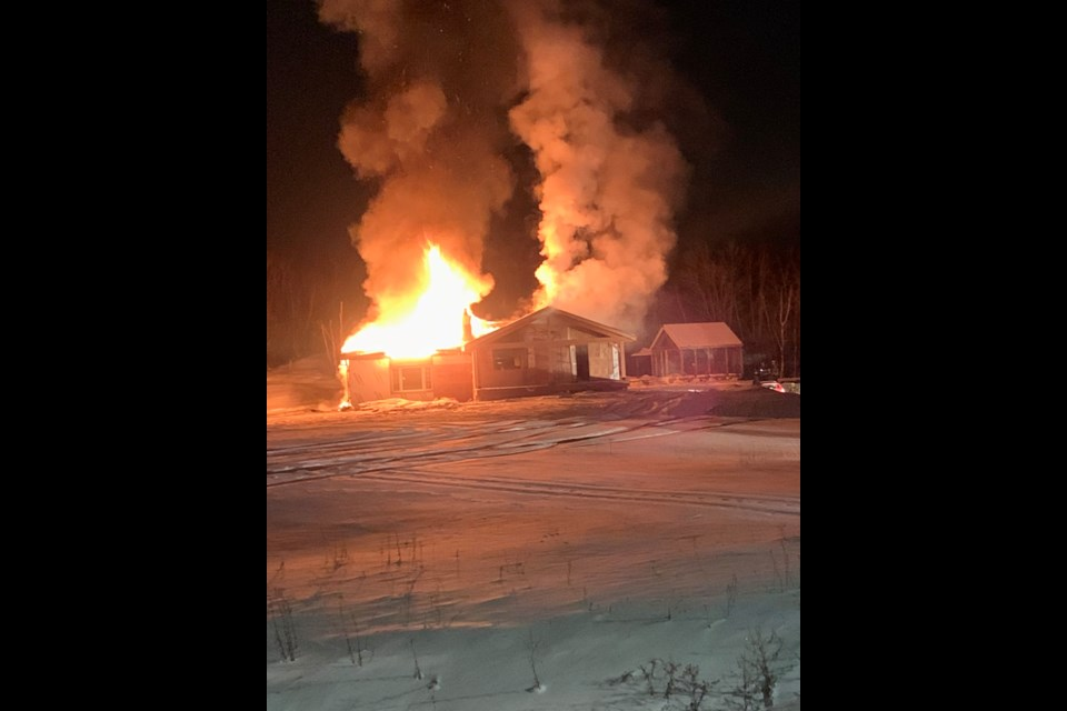 Deputy fire chief Jesse Oshell tweeted these photos of a house fire in the McCrea Heights area. (Supplied/Jesse Oshell)