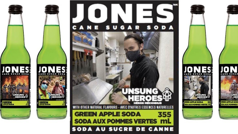 The photo of Cody Crawford appearing on the Green Apple Jones Soda bottles. (Supplied)