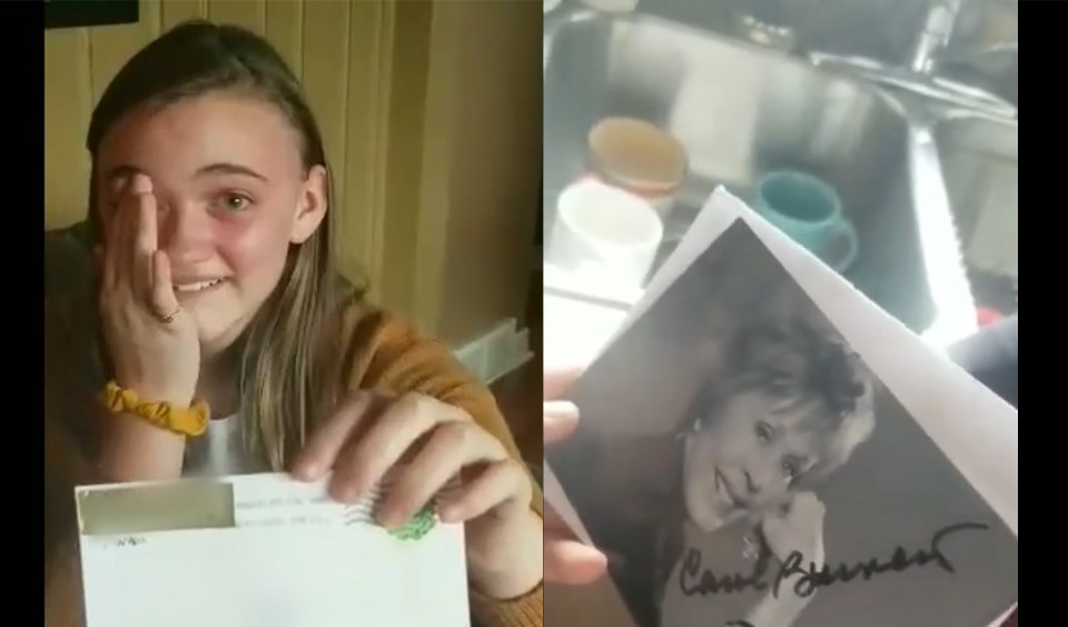 "Alexis Schilkie, 12, said she ""felt all the joys"" when she received an autographed photo from American actress, comedian, singer and writer Carol Burnett in November. Watch her reaction in the video below. (Supplied by Jana Schilkie)"