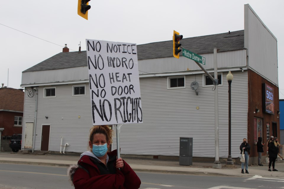 A group of roughly 20 Sudburians gathered at the corner of Notre Dame Avenue and King Street Saturday morning to protest what they deem illegal evictions by the landlord of a rooming house. (Matt Durnan/Sudbury.com)