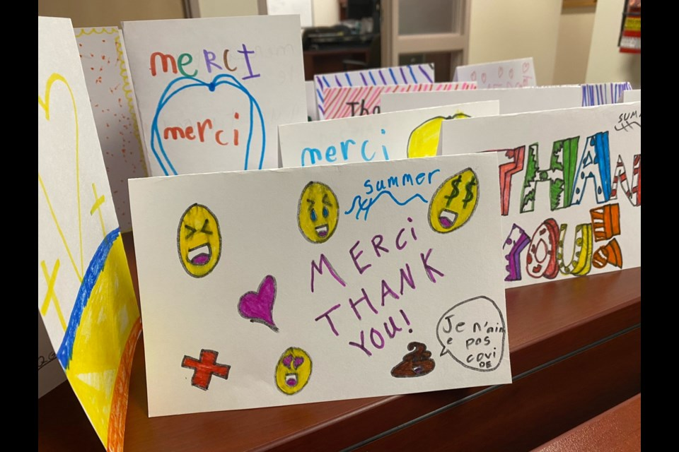 Some of the cards for HSN workers made by students at École St-Augustin.