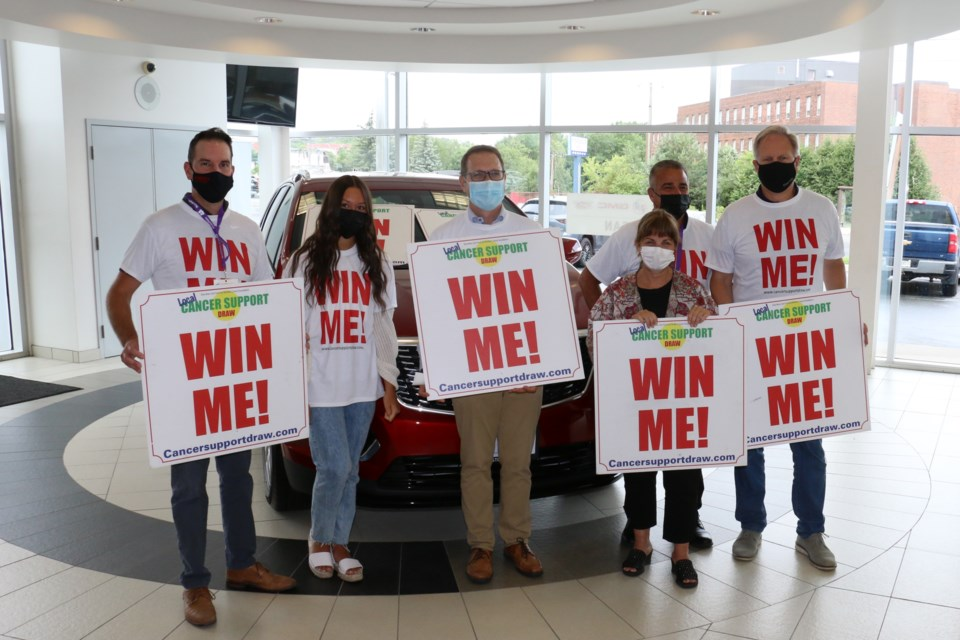 The new Local Cancer Support Draw for Sudbury was launched Tuesday morning at Crosstown Chevrolet, which featured the grand prize of a Cadillac XT5 vehicle. Those who took part included, left to right, Marc Legault of Bianco's Supercentre, cancer survivor Karissa Kruk, cancer survivor Terry Ames, Tannys Laughren, executive director of the Northern Cancer Foundation; Don Collin, general sales manager at Crosstown, and Vince Pollesel, dealer principal at Crosstown.